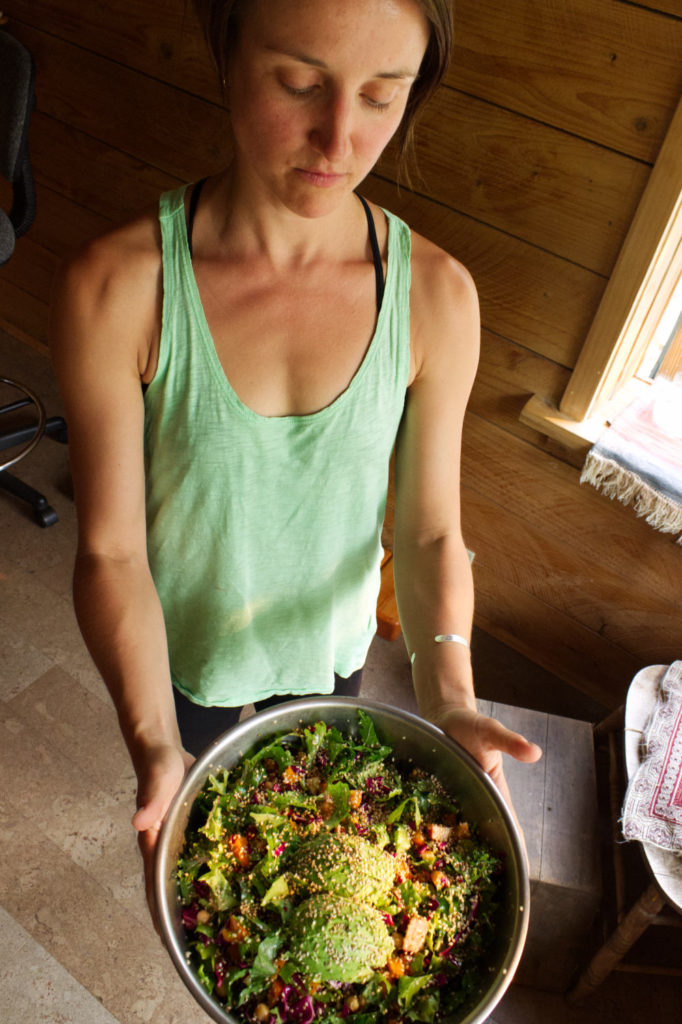 Jen showcasing salad