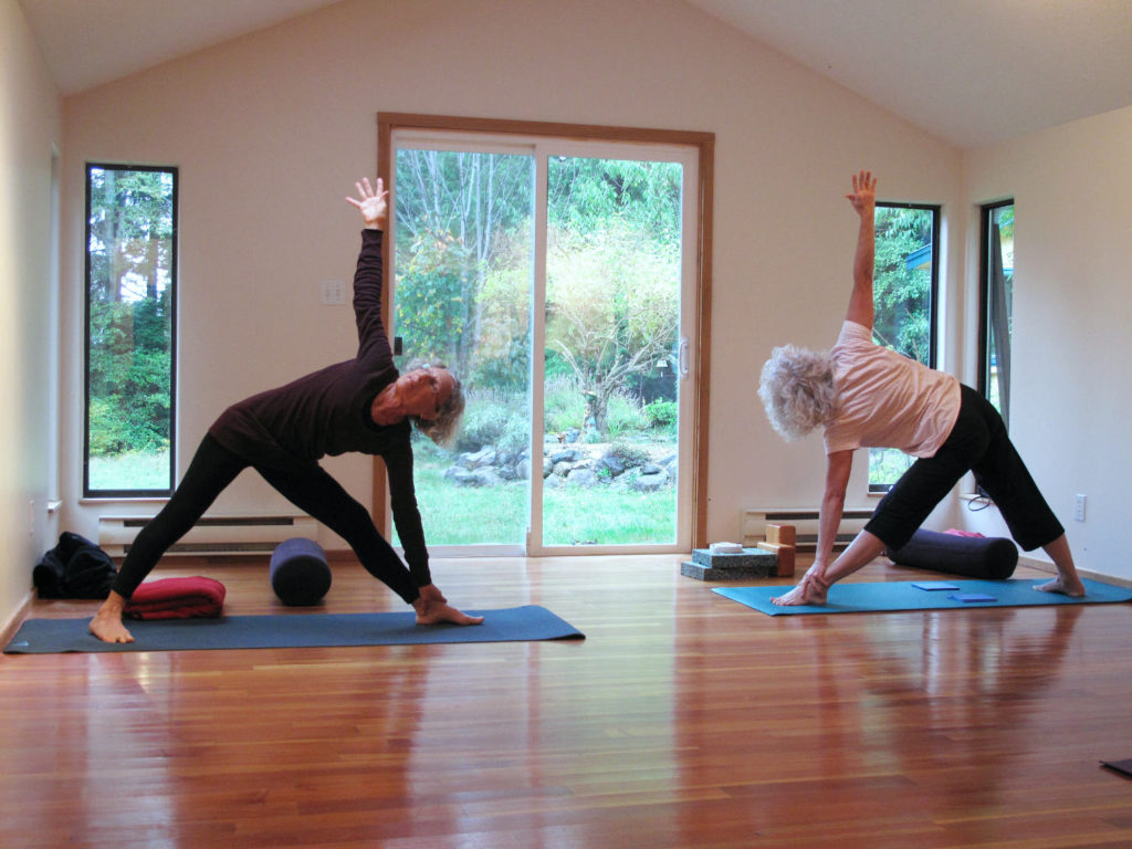 Yoga Studio Trikasana Pair in pose
