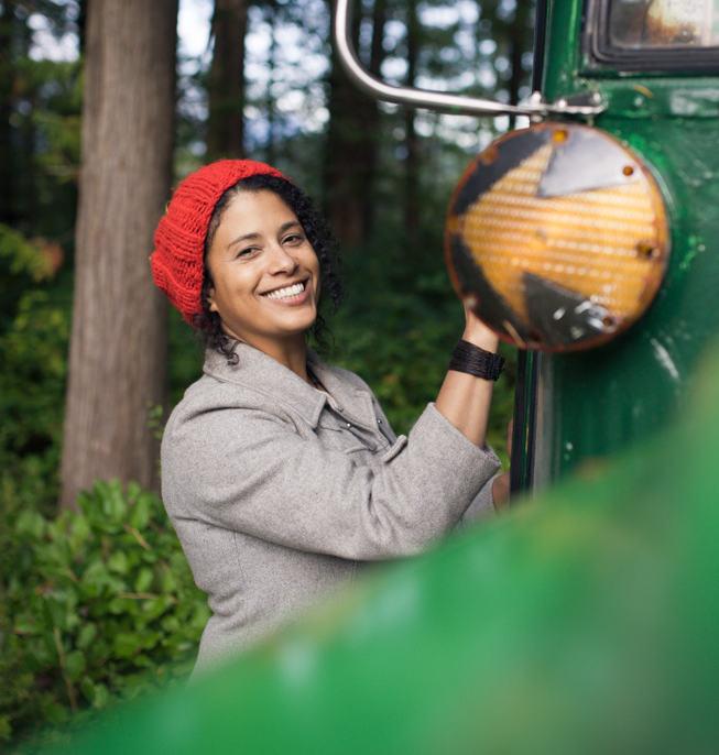 Romina at bus smiling